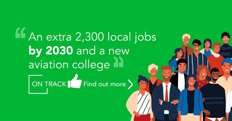 An extra 2,300 local jobs by 2030 and a new aviation college